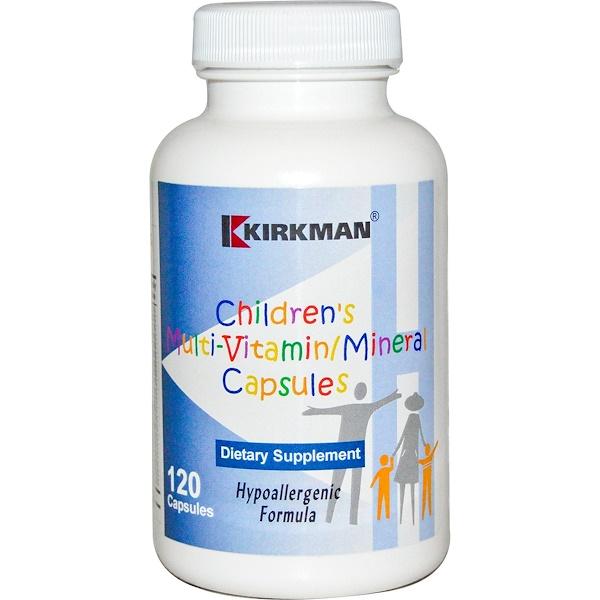 Kirkman Labs, Children's Multi-VitaminMineral, Capsules, Hypoallergenic Formula, 120 Capsules
