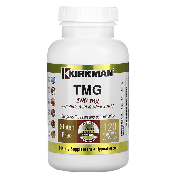Kirkman Labs, TMG with Folinic Acid & Methyl B-12, 500 mg, 120 Vegetarian Capsules