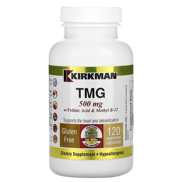 TMG with Folinic Acid & Methyl B-12, 500 mg, 120 Capsules
