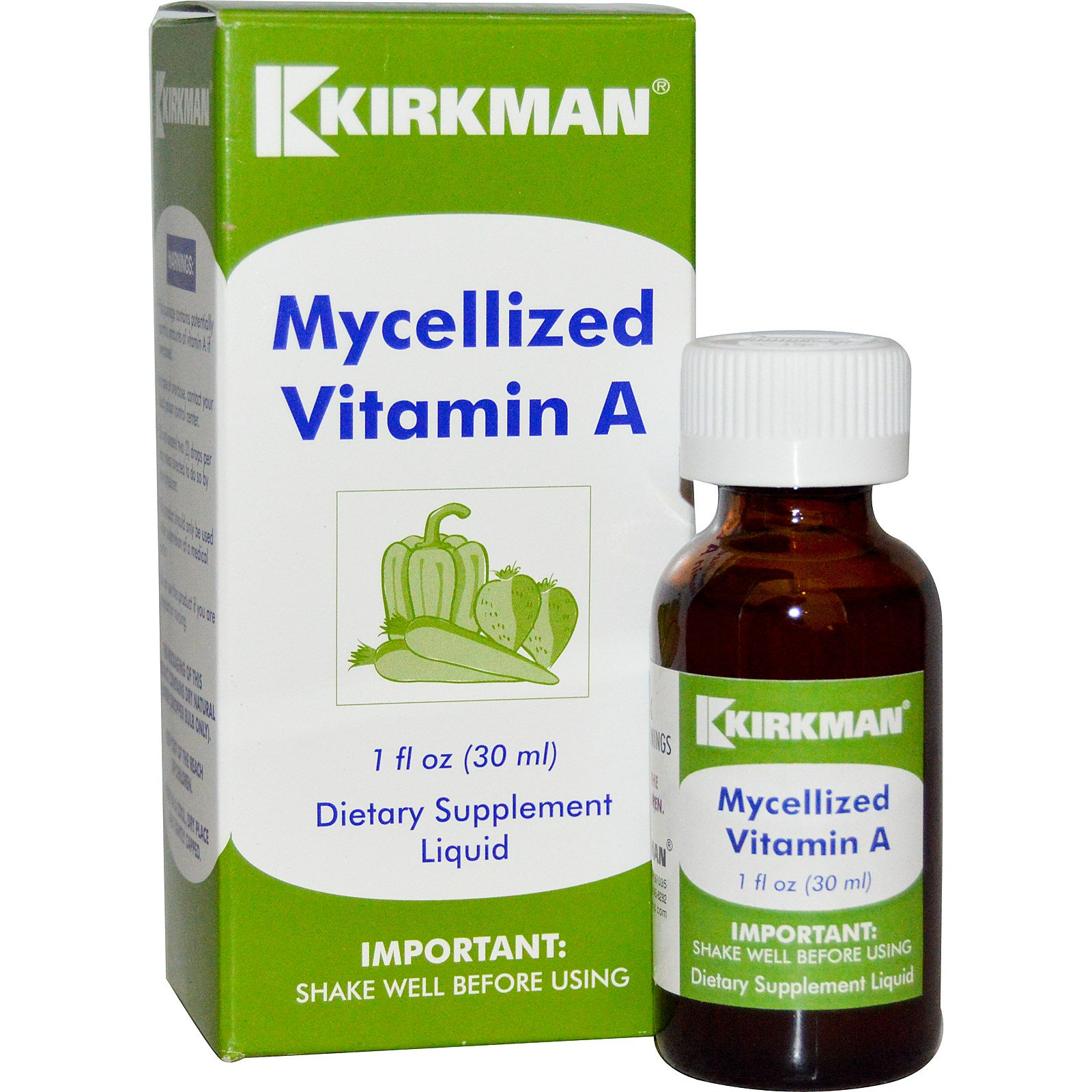 Kirkman Labs, Мицелизированный жидкий витамин A, 1 жидкая унция (30 мл)