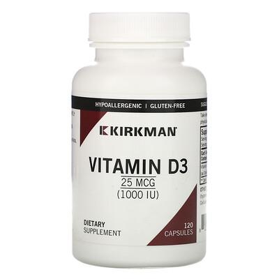 Kirkman Labs Витамин D3, 25мкг (1000МЕ), 120капсул