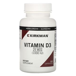 Kirkman Labs, ビタミンD-3、25mcg(1,000 IU)、120粒