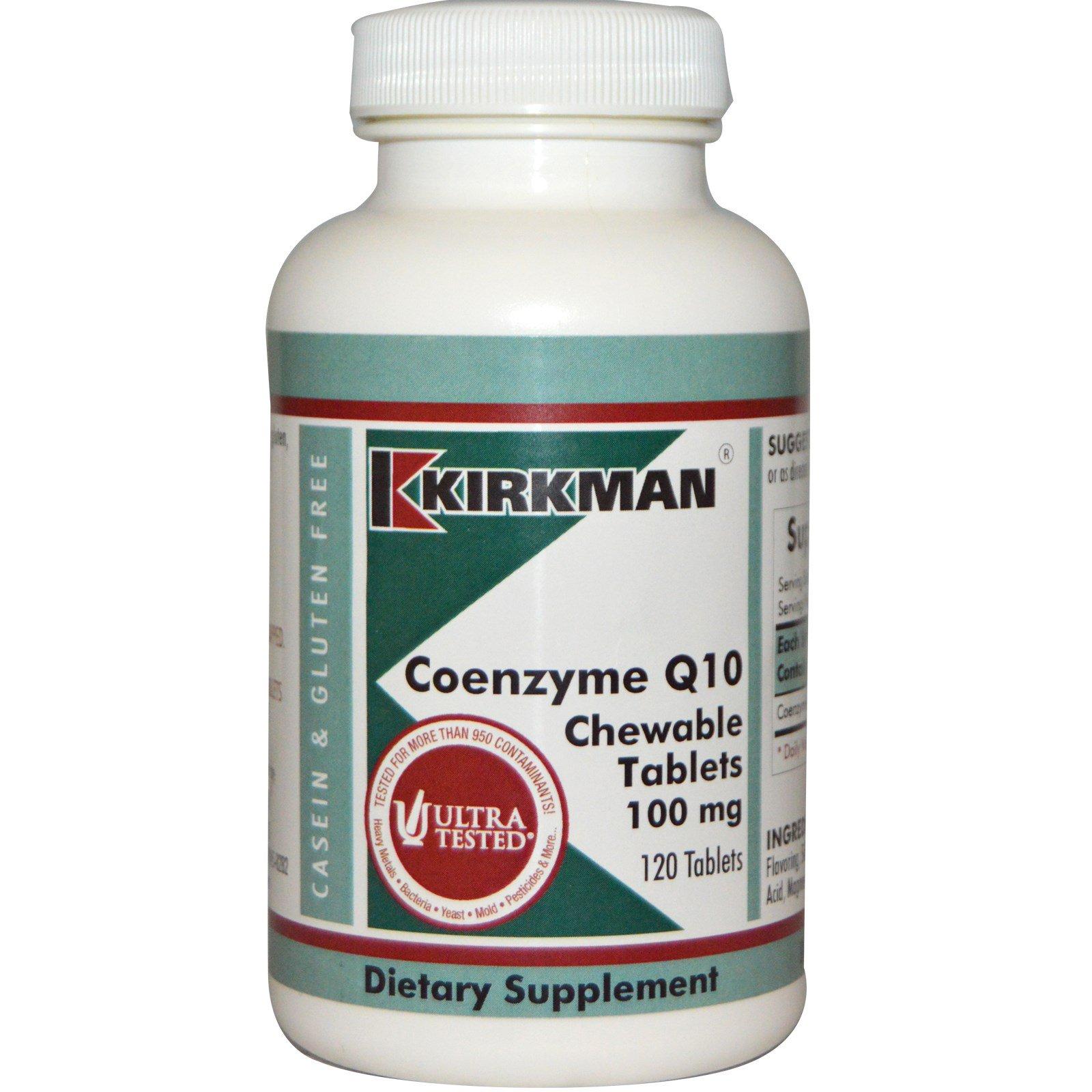 Kirkman Labs, Коэнзим Q10, 100 мг, 120 жевательных таблеток