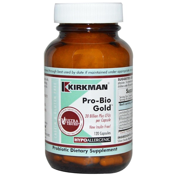 Kirkman Labs, Pro-Bio Gold (プロバイオゴールド)、低アレルギー性、120カプセル (Ice)