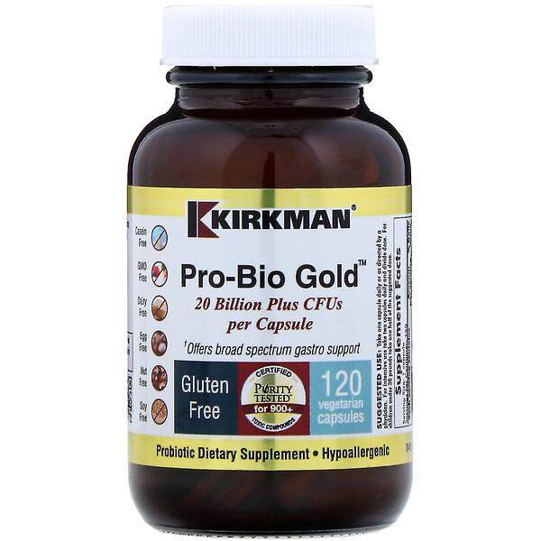 プロバイオゴールド、低刺激性、CFU 200億プラス、植物性カプセル120粒