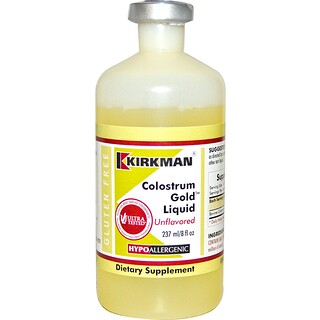 Kirkman Labs, Colostrum Gold líquido, sin sabor, 8 fl oz (237 ml)