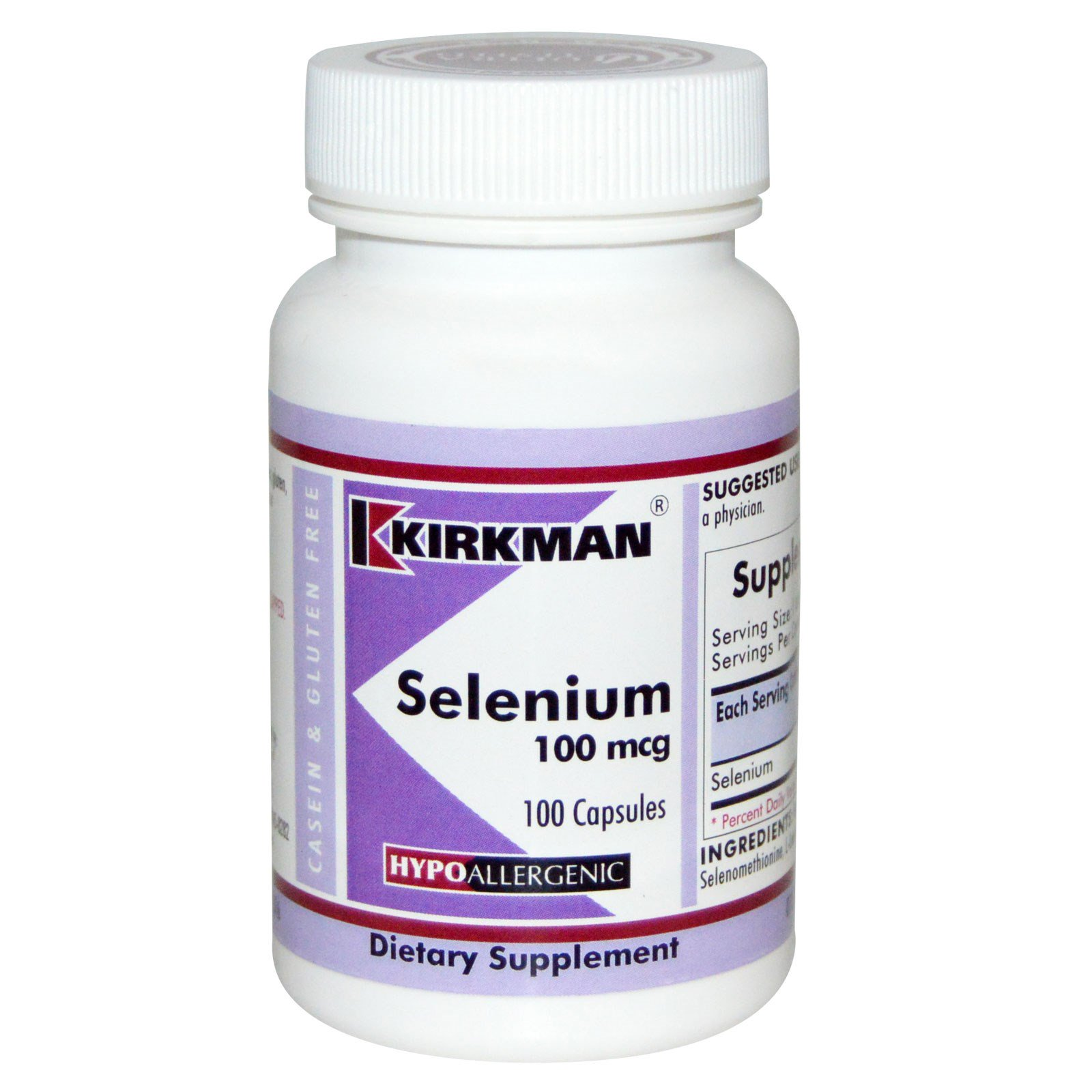 Kirkman Labs, Селен, 100 мкг, 100 капсул