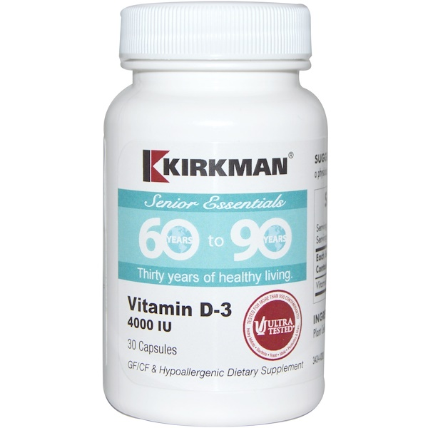 Kirkman Labs, Senior Essentials 60 to 90 Years, Vitamin D-3, 4000 IU, 30 Capsules (Discontinued Item)