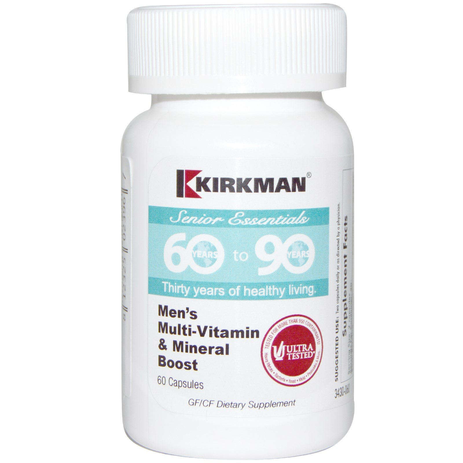 Kirkman Labs, Формула для старшего поколения от 60 до 90 лет, мужской комплекс мультивитаминов и минералов, 60 капсул