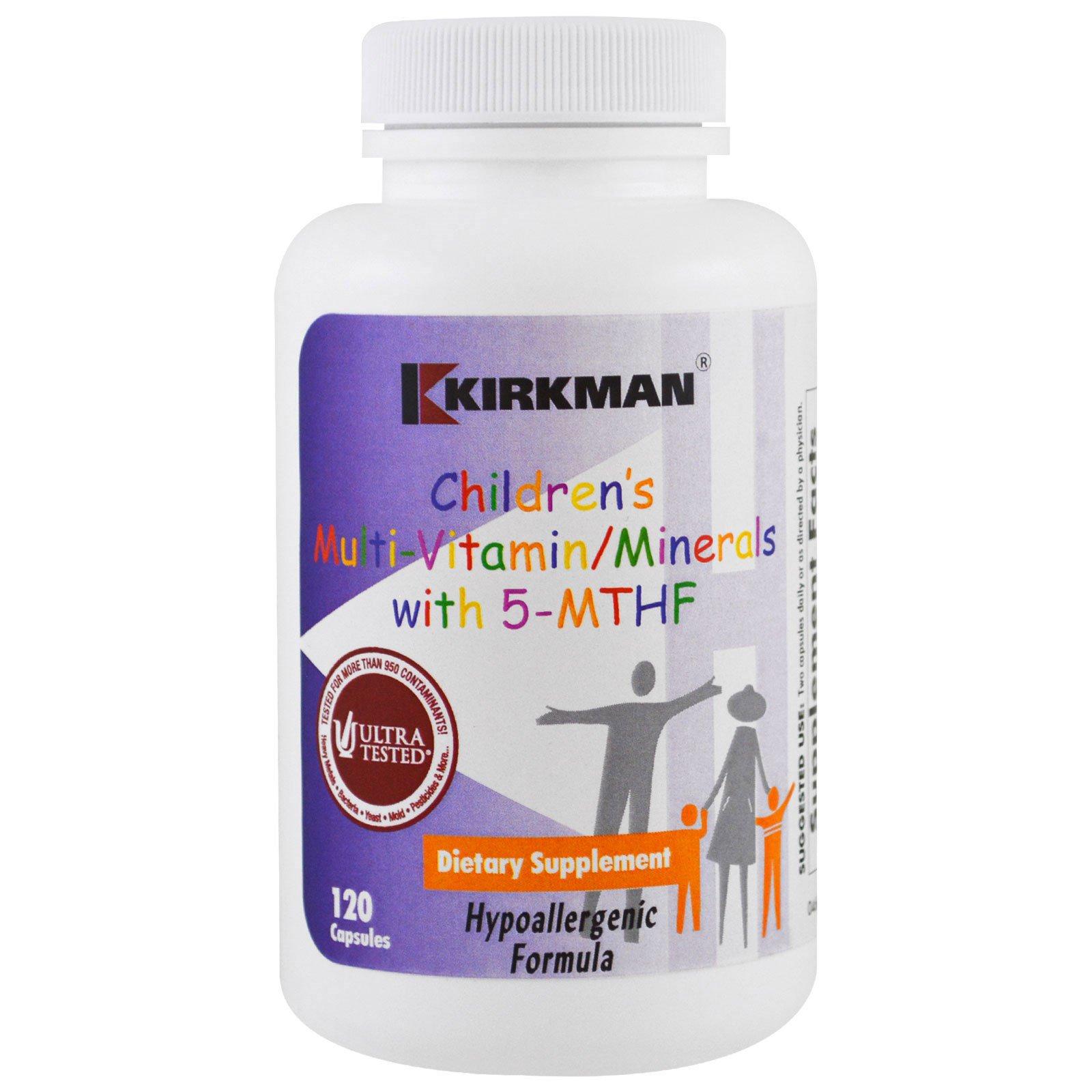 Kirkman Labs, Детские поливитамины/минералы с 5-метилтетрагидрофолатом, 120 капсул