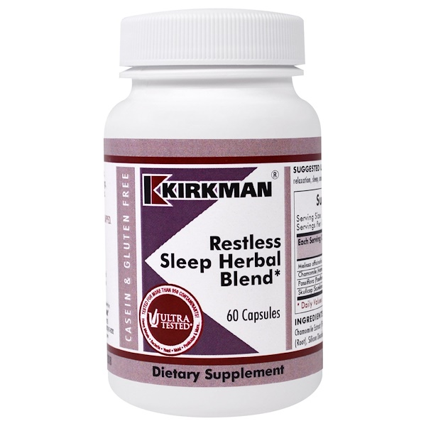 Kirkman Labs, Restless Sleep Herbal Blend , 60 Capsules (Discontinued Item)