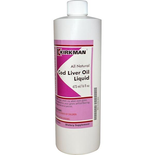 Kirkman Labs, Cod Liver Oil Liquid, 16 fl oz (473ml) (Discontinued Item)