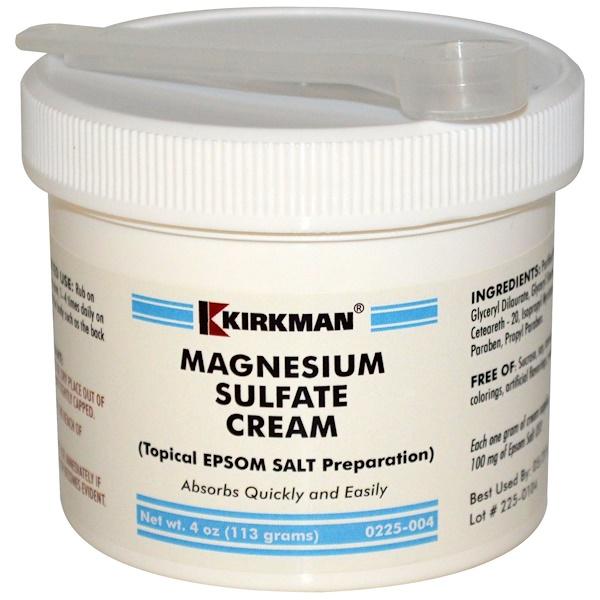 Kirkman Labs, Magnesium Sulfate Cream, 4 oz (113 g) (Discontinued Item)
