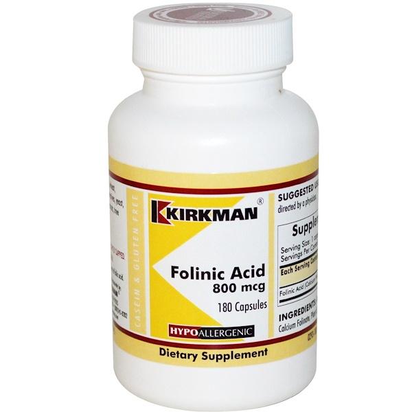 Kirkman Labs, Фолиновая кислота, 800мкг, 180капсул (Discontinued Item)