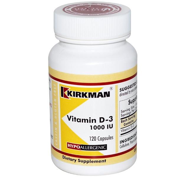 Kirkman Labs, Vitamin D-3, 1000 IU, 120 Capsules (Discontinued Item)