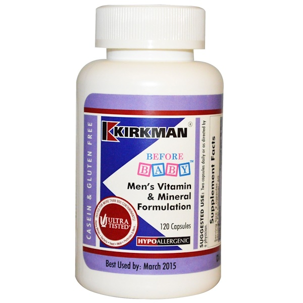 Kirkman Labs, Before Baby, Men's Vitamin & Mineral Formulation, 120 Capsules (Discontinued Item)