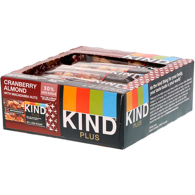 цены Kind Plus, Cranberry Almond + Antioxidants with Macadamia Nuts, 12 Bars, 1.4 oz (40 g) Each