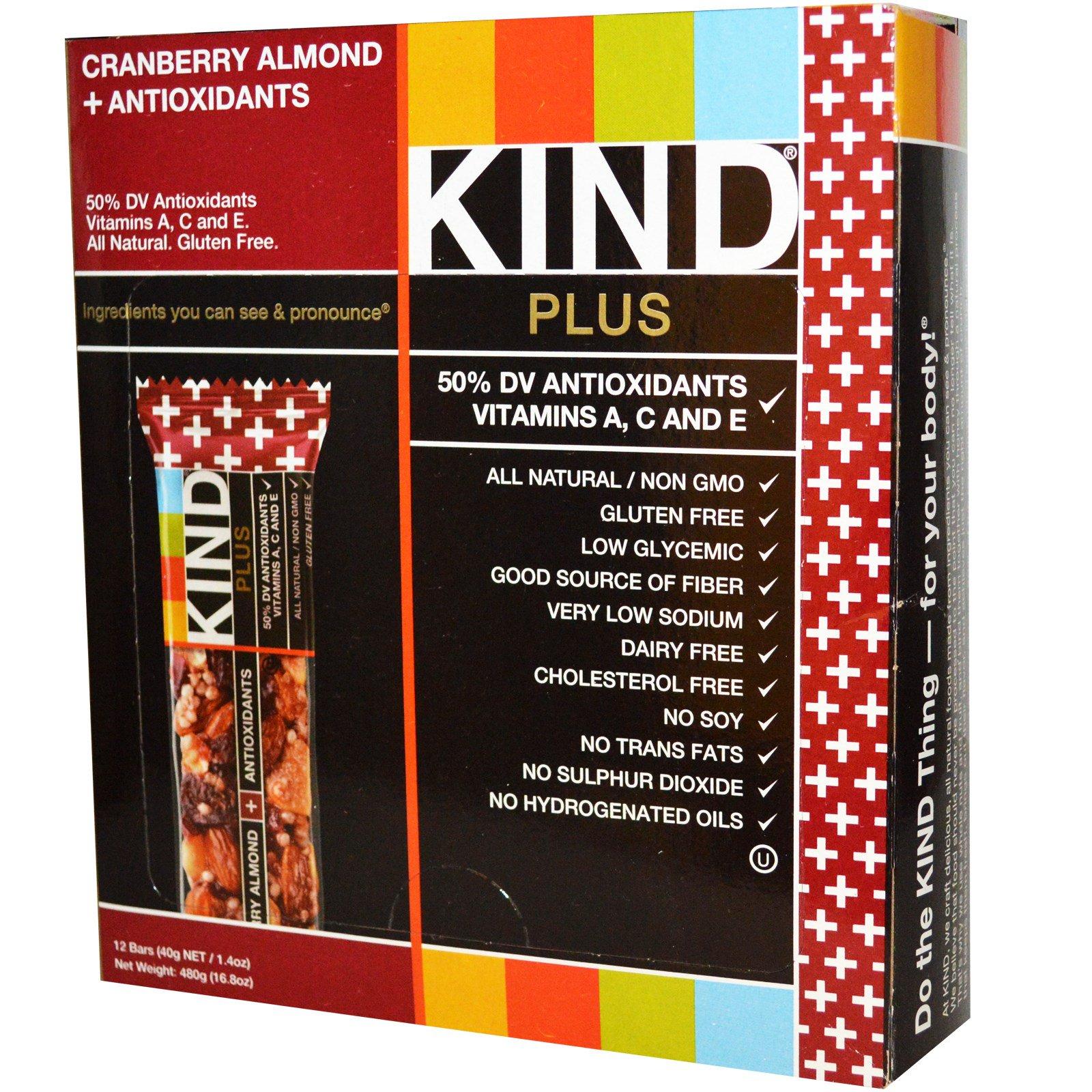 KIND Bars, Kind Plus, батончики с клюквой, миндалем и антиоксидантами, 12 батончиков по 1,4 унции (40 г) каждый