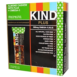 Кинд Барс, Kind Plus, Fruit & Nut Bars, Almond Cashew with Flax + Omega-3, 12 Bars, 1.4 oz (40 g) Each отзывы покупателей