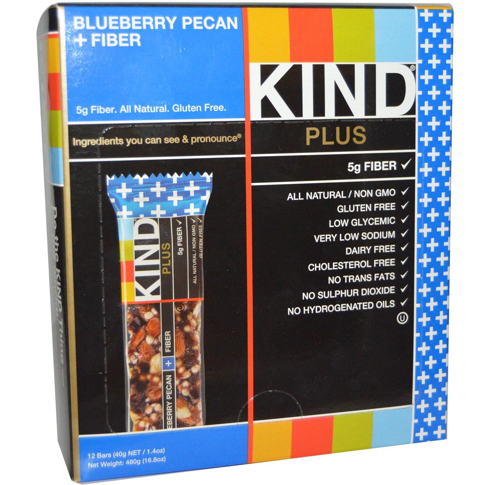 KIND Bars, Plus, Blueberry Pecan + Fiber, 12 Bars, 1.4 oz Each