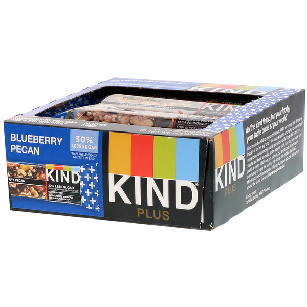 KIND Bars, Kind Plus, Blueberry Pecan, 12 Bars, 1.4 oz (40 g) Each (Discontinued Item)