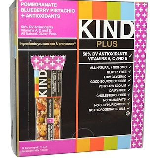KIND Bars, Plus Bars, Pomegranate Blueberry Pistachio + Antioxidants, 12 Bars, 1.4 oz (40 g) Each
