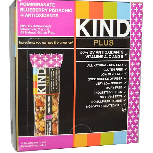 KIND Bars, Plus Bars, Pomegranate Blueberry Pistachio + Antioxidants, 12 Bars, 1、4 oz (40 g) Each