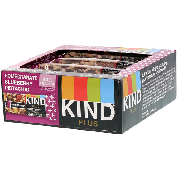 Kind Plus, Pomegranate Blueberry Pistachio + Antioxidants, 12 Bars, 1.4 oz (40 g) Each