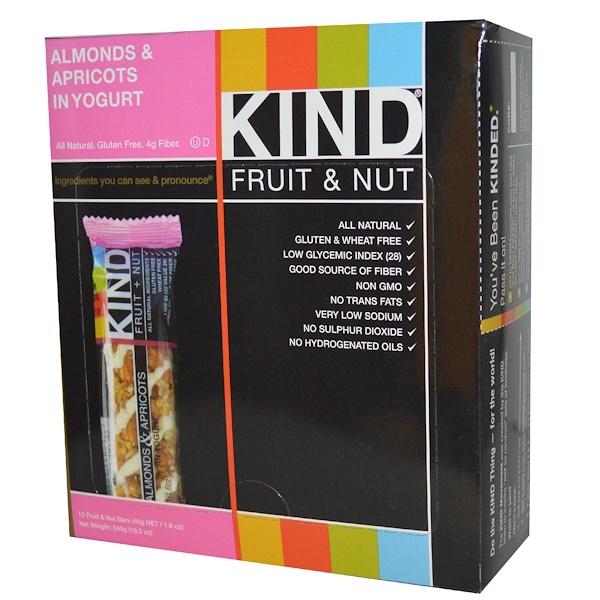 KIND Bars, KIND Fruit & Nut Bars, Almonds & Apricots in Yogurt, 12 Bars, 1.6 oz (45 g) Each (Discontinued Item)