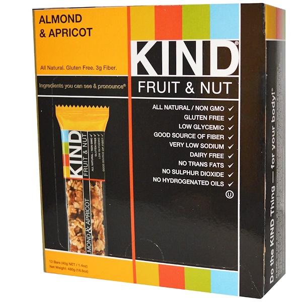 KIND Bars, Fruit & Nut Bars, Almond & Apricot, 12 Bars, 1.4 oz (40 g) Each (Discontinued Item)