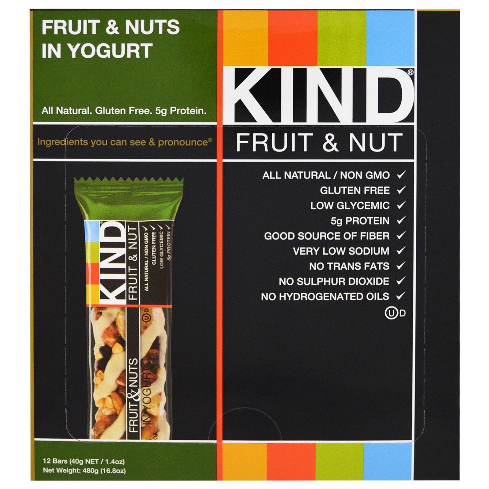 KIND Bars, С фруктами и орехами в йогурте, 12 батончиков по 45 г