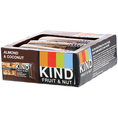 KIND Bars Фруктово-ореховые батончики, с миндалем и кокосом, 12 батончиков по 40 г