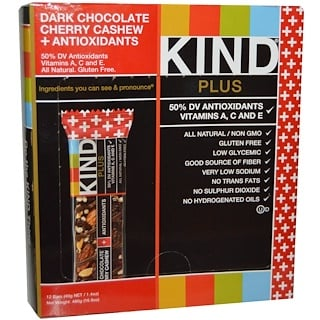 KIND Bars, Kind Plus, Dark Chocolate Cherry Cashew + Antioxidants, 12 Bars, 1.4 oz (40 g) Each
