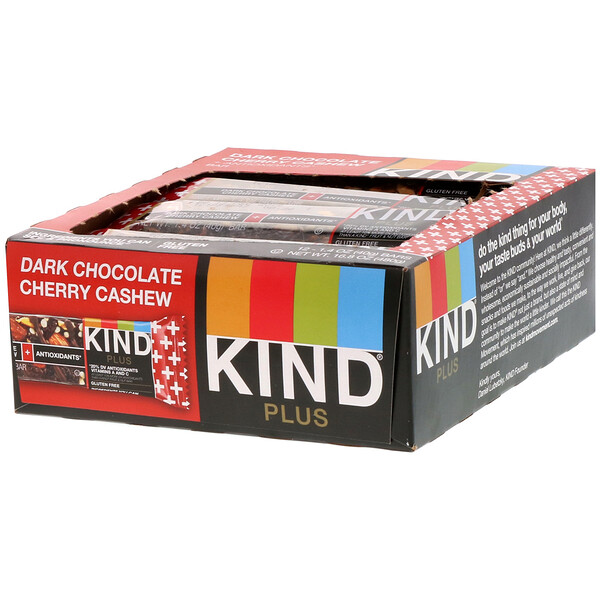 Kind Plus, Dark Chocolate Cherry Cashew + Antioxidants, 12 Bars, 1.4 oz (40 g) Each