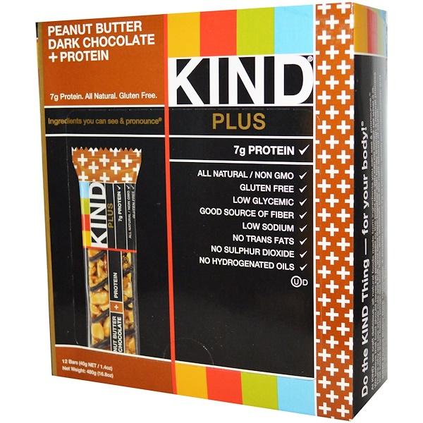 KIND Bars, Plus, 水果和堅果,花生醬,黑巧克力+蛋白, 12 條, 1、4 盎司 (40 克) 每個