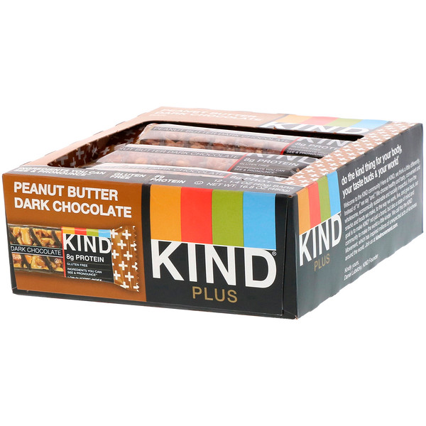 KIND Bars, Kind Plus, Peanut Butter Dark Chocolate Bar, 12 Bars, 1.4 oz (40 g) Each