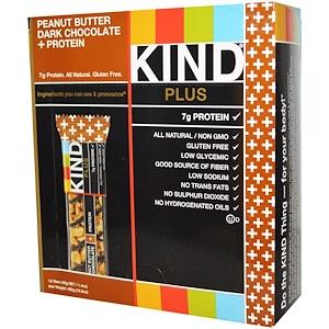 KIND Bars, Plus, фруктовые и ореховые батончики, арахисовое масло с темным шоколадом + протеин, 12 батончиков, 1,4 унции (40 г) каждый