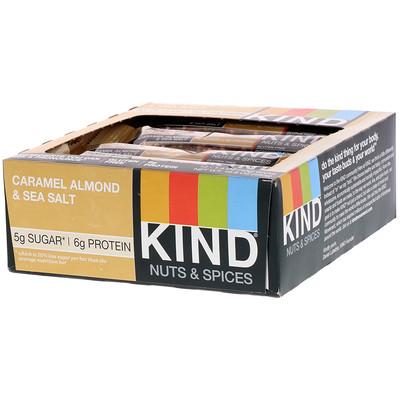 Купить Nuts & Spices, батончики с карамелью, миндалем и морской солью, 12 батончиков, весом 40 г (1, 4 унции) каждый