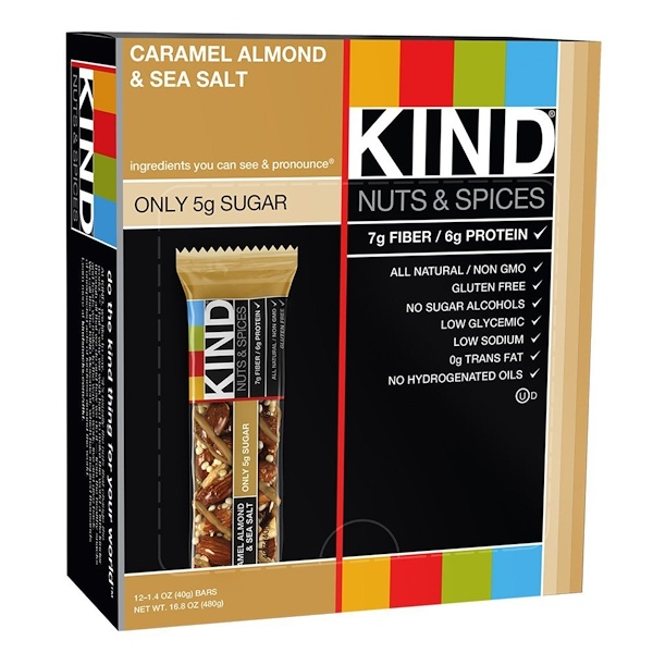 KIND Bars, Nuts & Spices, Caramel Almond & Sea Salt, 12 Bars