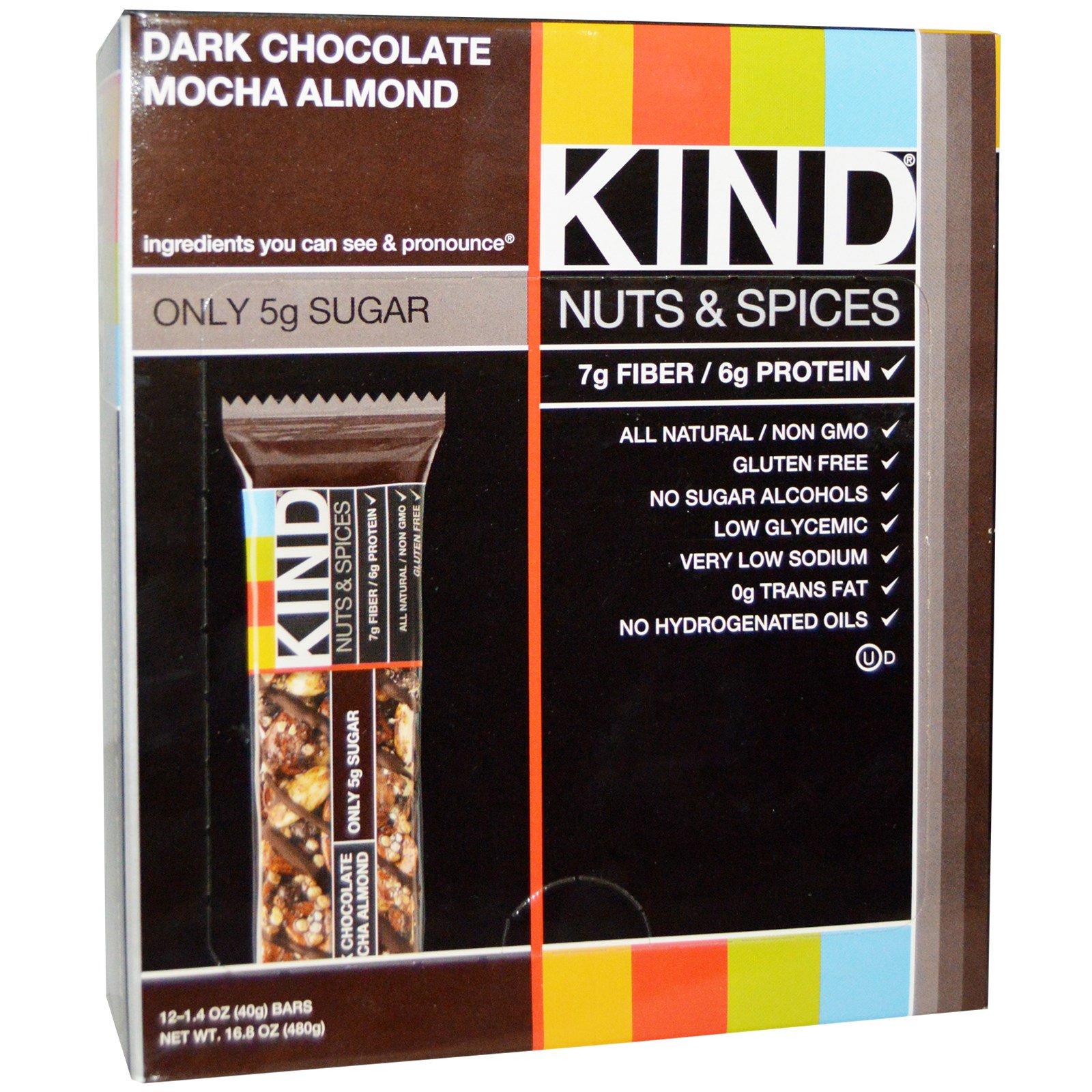 """KIND Bars, """"Орехи со специями"""", с темным шоколадом, мокко и миндалем, 12 батончиков по 1.4 унций (40 г)"""