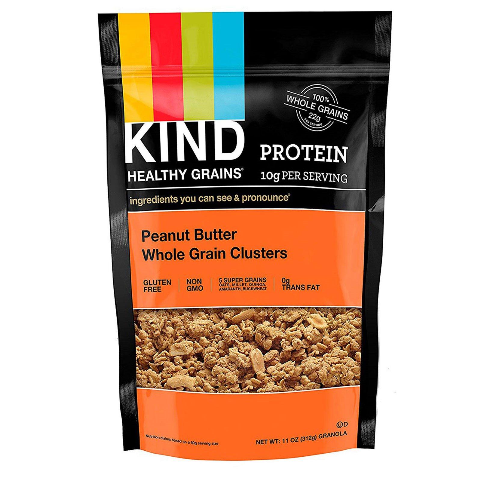 """KIND Bars, """"Здоровые зерна"""", цельнозерновые кусочки с арахисовой пастой, 11 унций (312 г)"""
