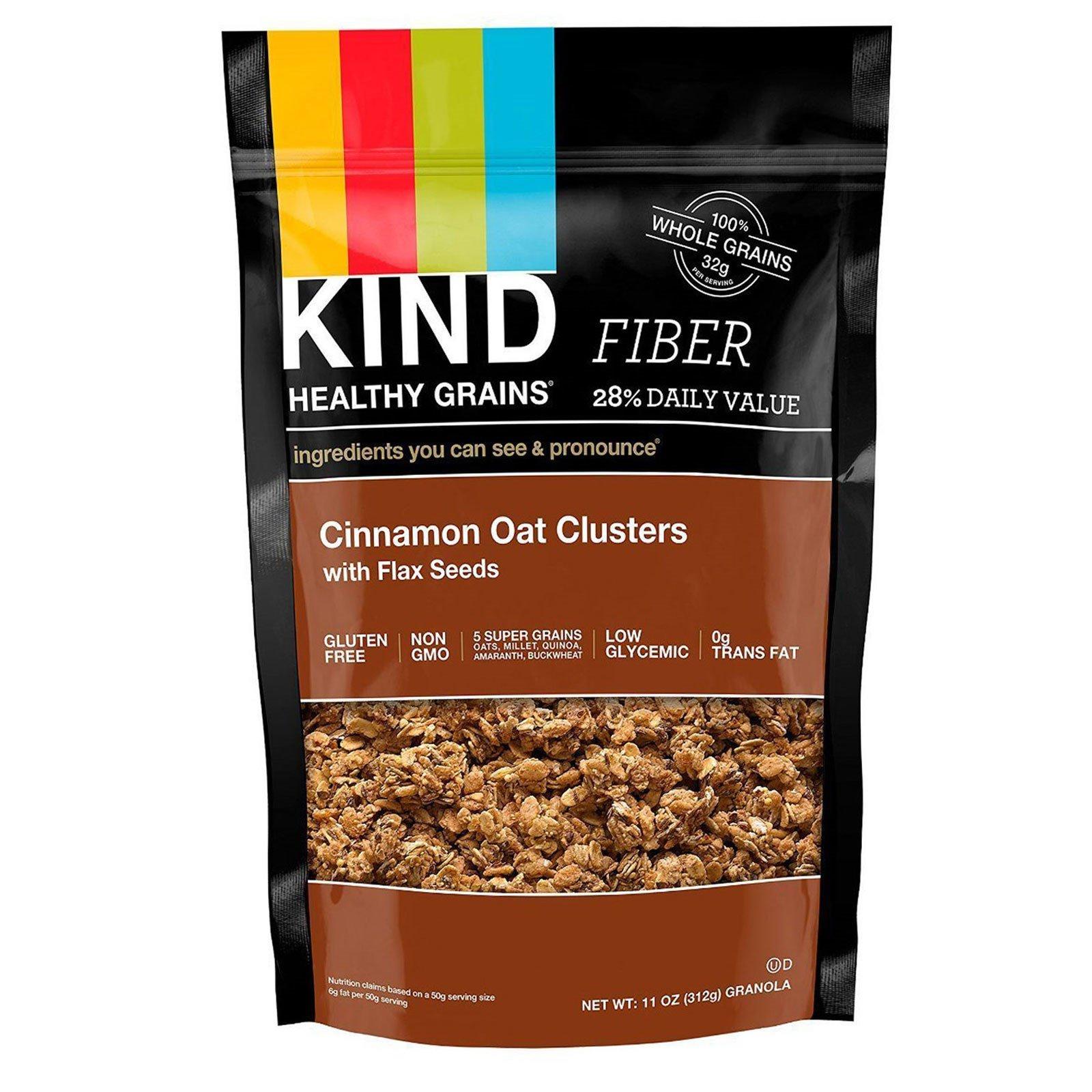 """KIND Bars, """"Здоровые зерна"""", овсяные кусочки с корицей и семенами льна, 11 унций (312 г)"""