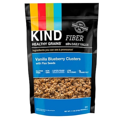 KIND Bars Healthy Grains, Fiber, Vanilla Blueberry Clusters,Net Wt 11 oz. (312 g)