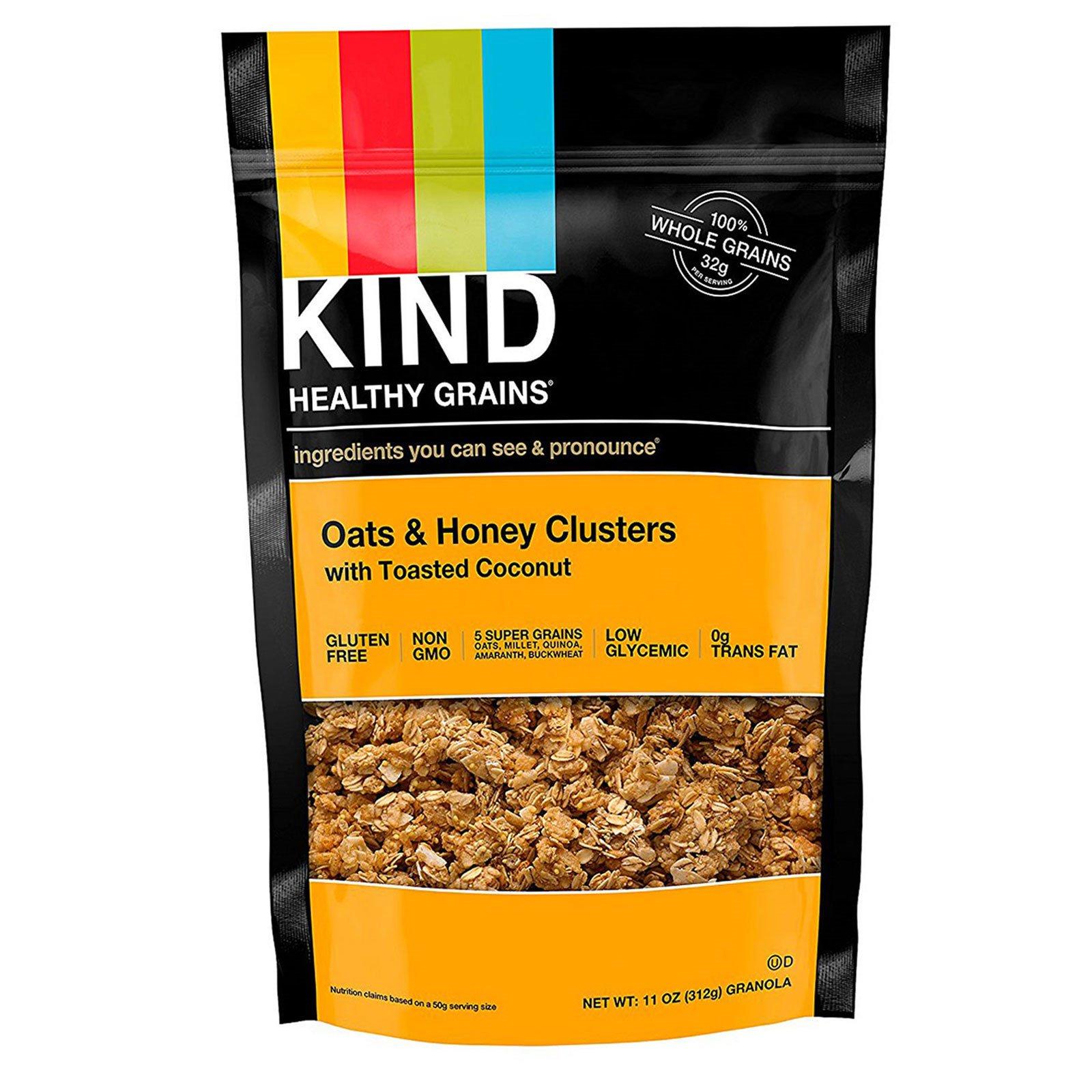 """KIND Bars, """"Здоровые зерна"""", кусочки из овса и меда с поджаренным кокосом, 11 унций (312 г)"""
