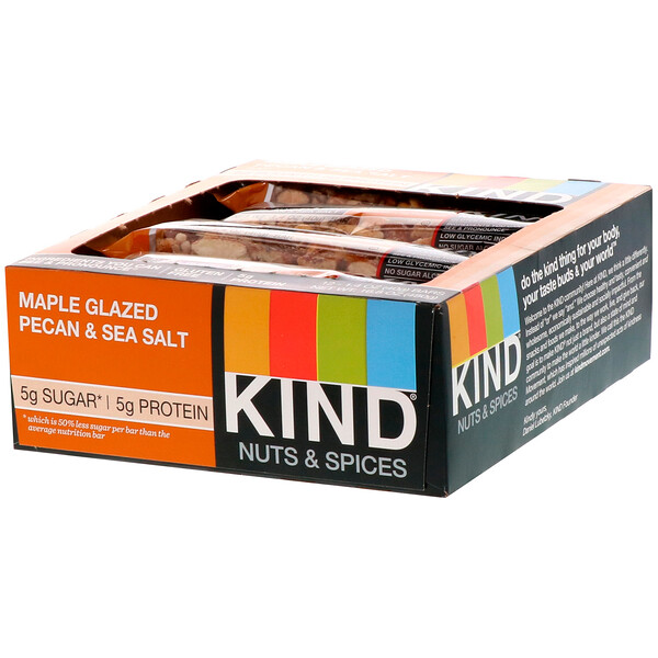 KIND Bars, Nuts & Spices, Maple Glazed Pecan & Sea Salt, 12 Bars 1.4 oz (40 g) Each