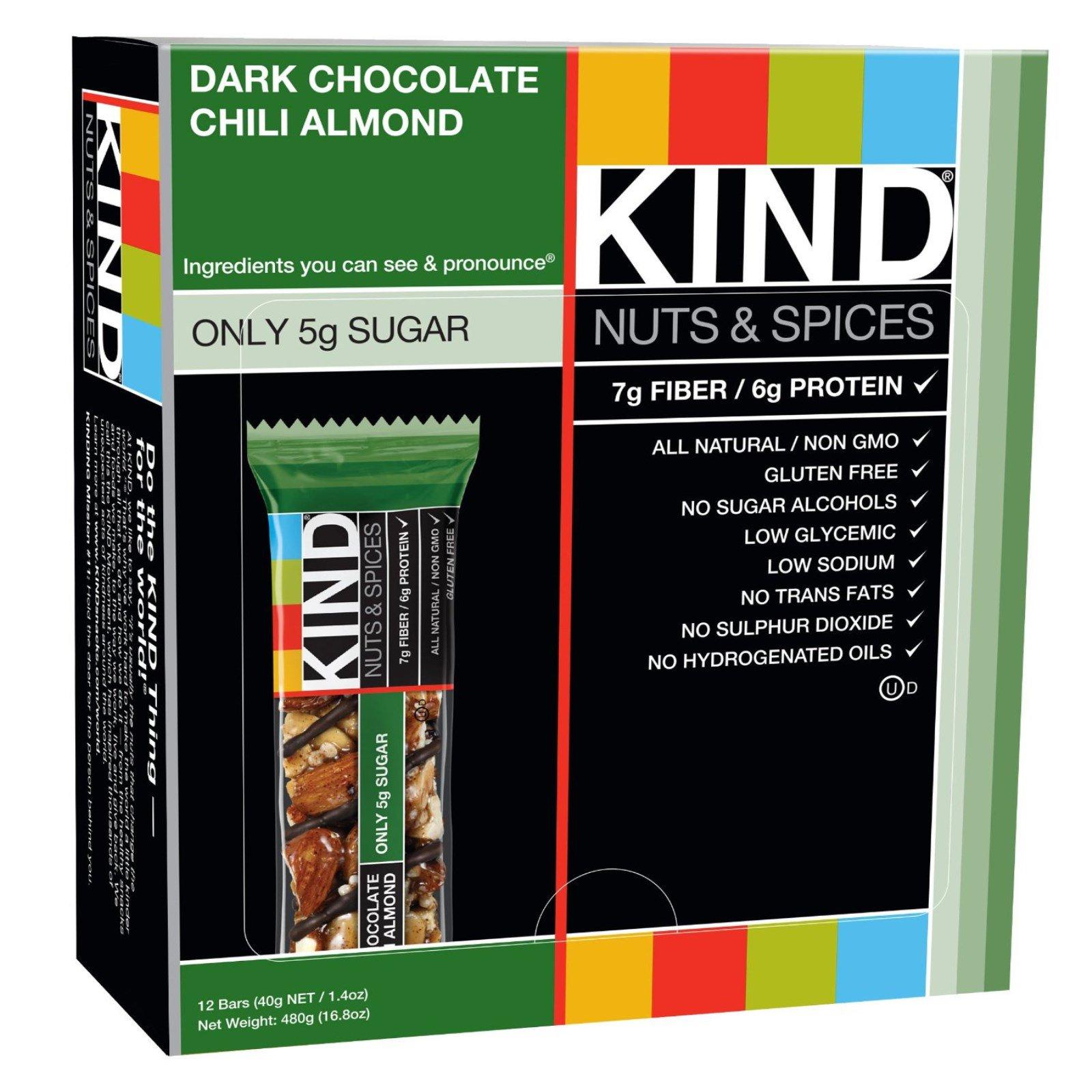 KIND Bars, Nuts & Spices, Dark Chocolate Chili Almond, 12 Bars
