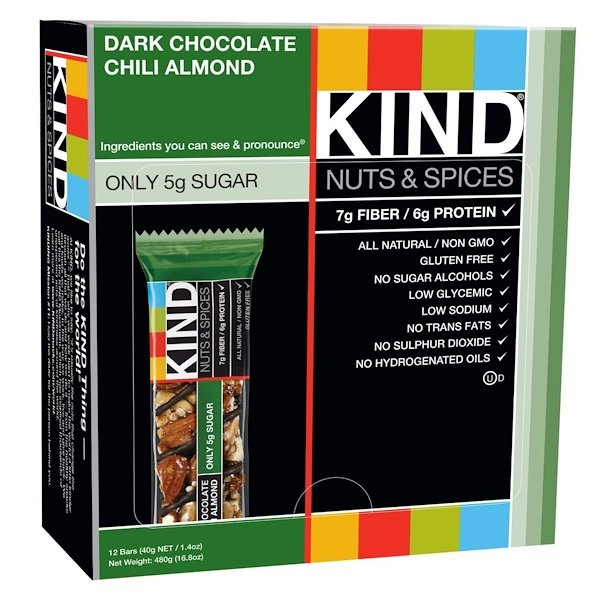 KIND Bars, Nuts & Spices, Dark Chocolate Chili Almond, 12 Bars, 1.4 oz (40 g) Each (Discontinued Item)