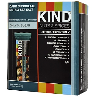 KIND Bars, Nuts & Spices, Dark Chocolate Nuts & Sea Salt, 12 Bars, 1.4 oz (40 g) Each