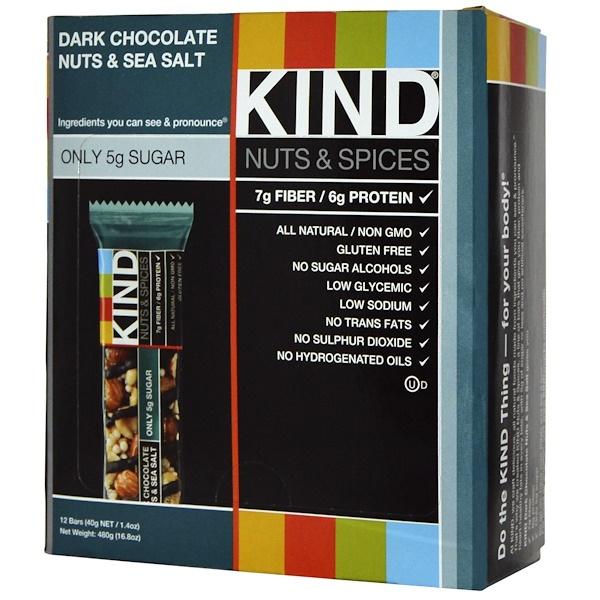 KIND Bars, Nuts & Spices,黑巧克力堅果和海鹽味,12條,每條1、4盎司(40克)