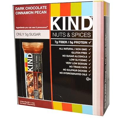 """""""Орехи со специями"""", с темным шоколадом, корицей и пеканом, 12 батончиков, 1.4 унций (40 г)"""